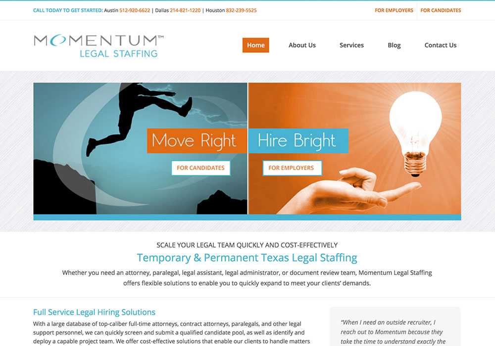 Momentum Legal Staffing Website