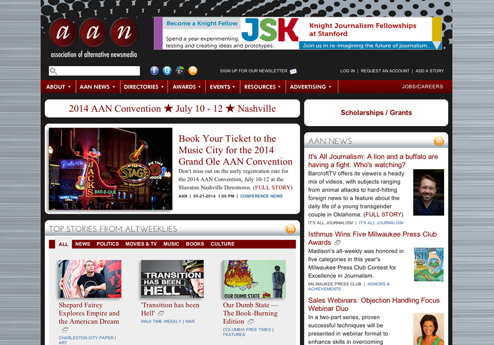 Association of Alternative Newsweeklies Website