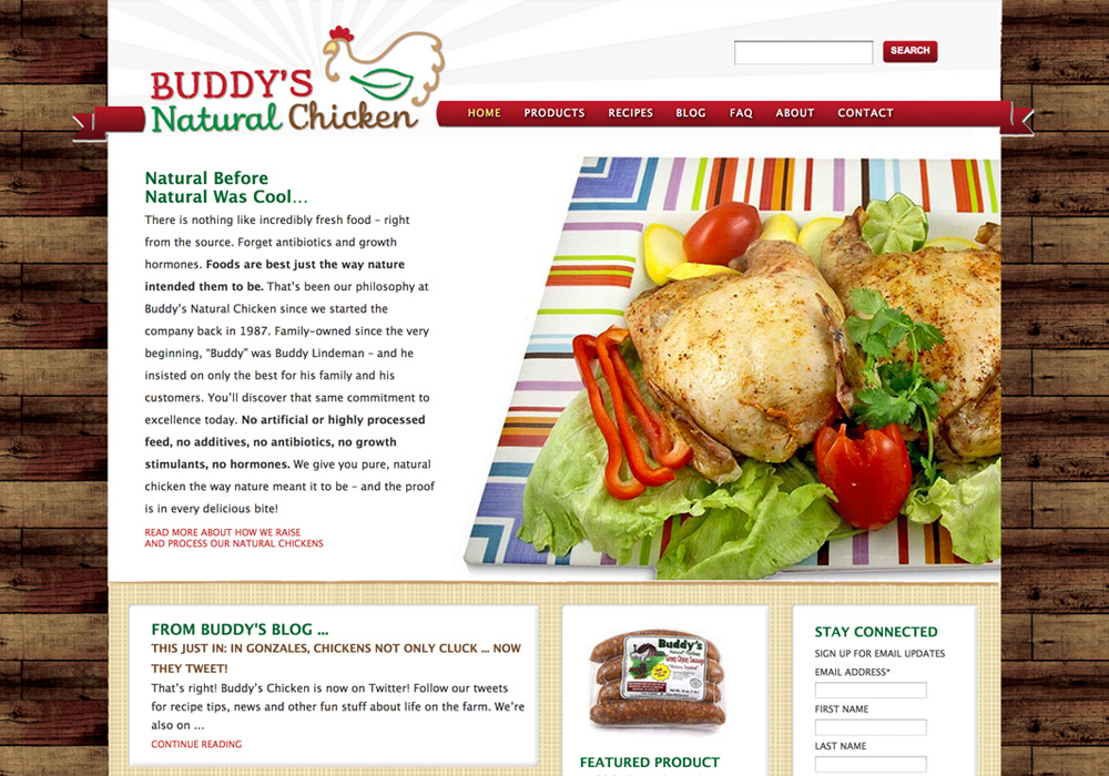 Buddy's Natural Chicken Website