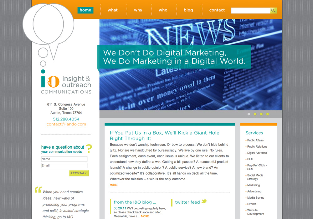 I&O Communications Website