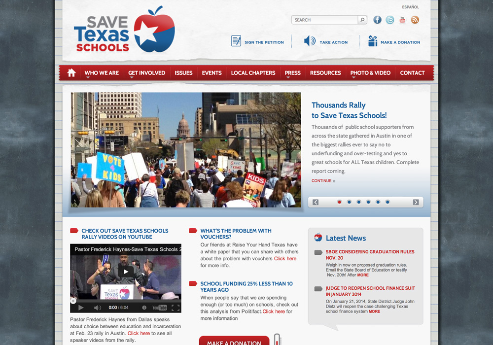 Save Texas Schools Website