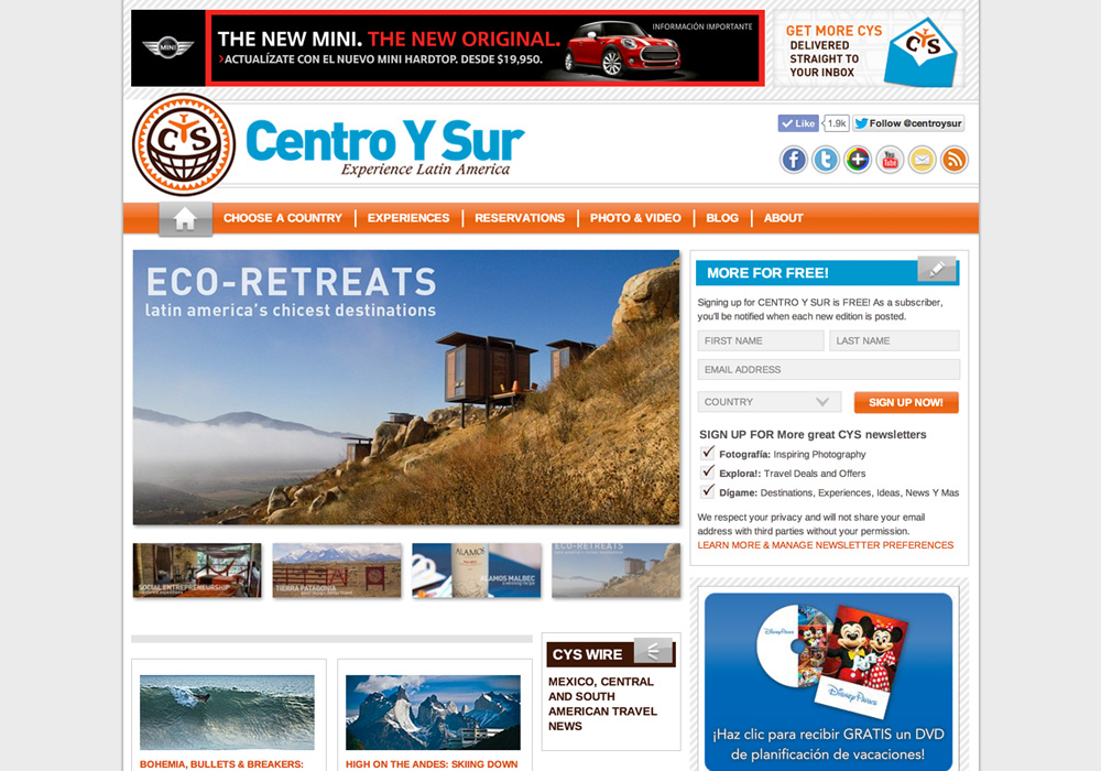 Centro Y Sur Website