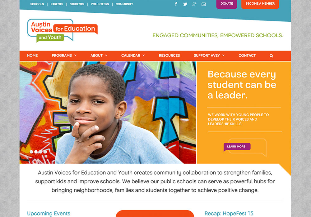 Austin Voices for Education and Youth Website